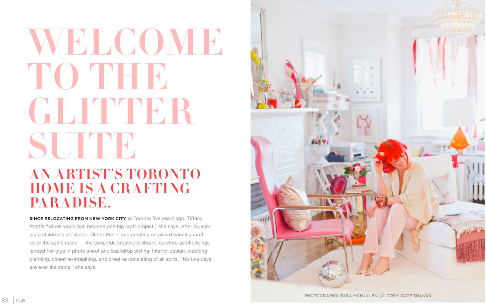 tara mcmullen photography tiffany pratt's home in rue magazine rue magazine color issue tiffany pink hair glitter suite-1